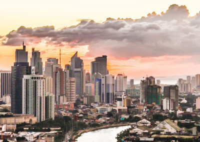 Sunset above the skyline of Makati City, Manila, Philippines in